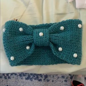Teal winter headband with white pearls